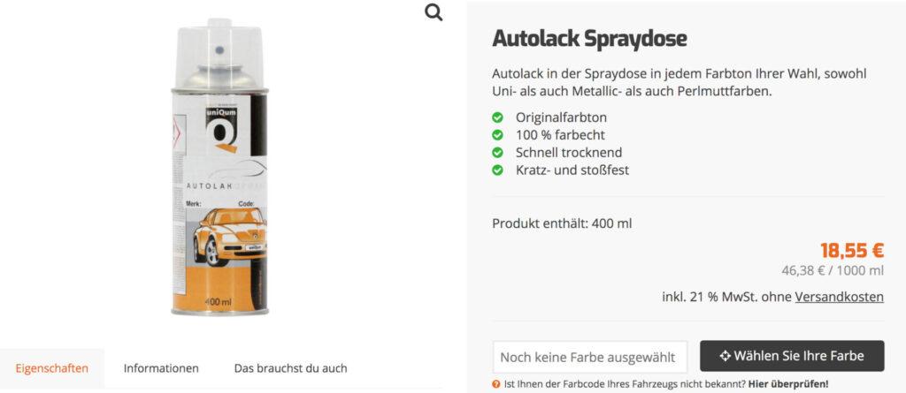 Autolackfarbe auswählen auf Produktseite